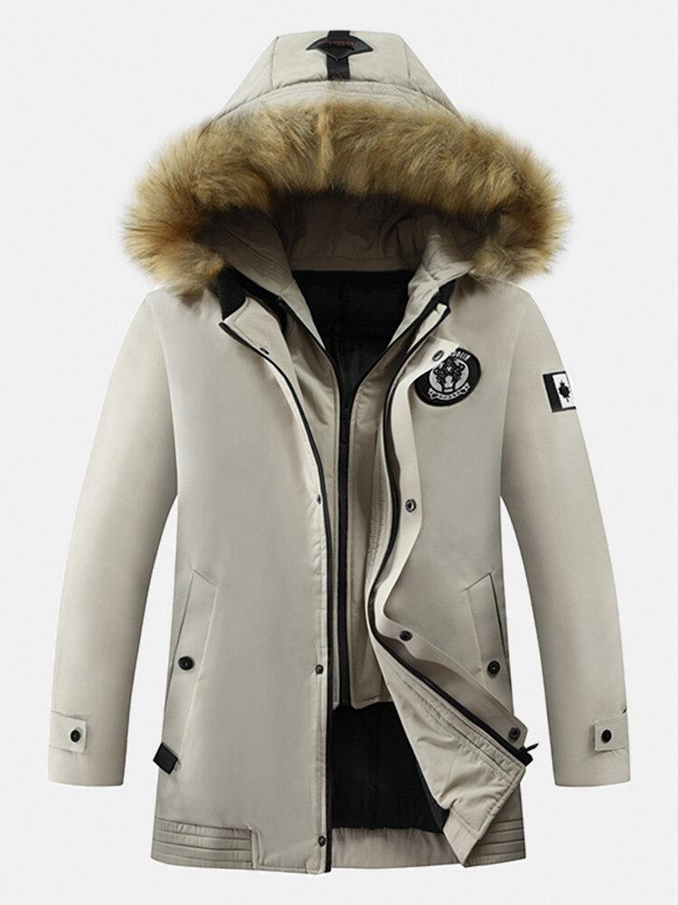 Mens Solid Winter Thicken Warm Zipper Fur Hooded Mid-Long Down Jacket