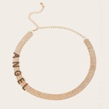 Rhinestone Slogan Decor Waist Chain