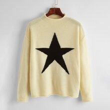 Drop Shoulder Star Pattern Sweater