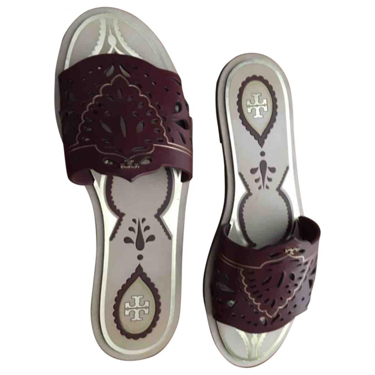 Tory Burch \N Burgundy Leather Sandals for Women 36 EU