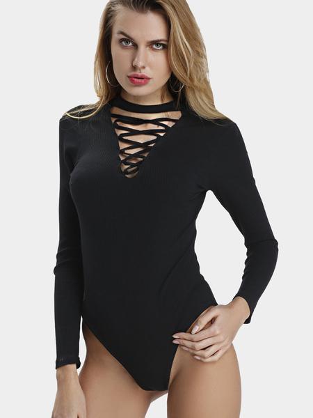 Yoins Black Long Sleeves Hollow Out Bodysuit