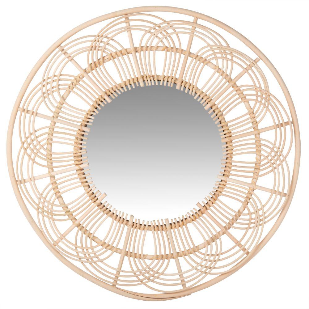 Runder Spiegel mit perforiertem Rattanrahmen D60