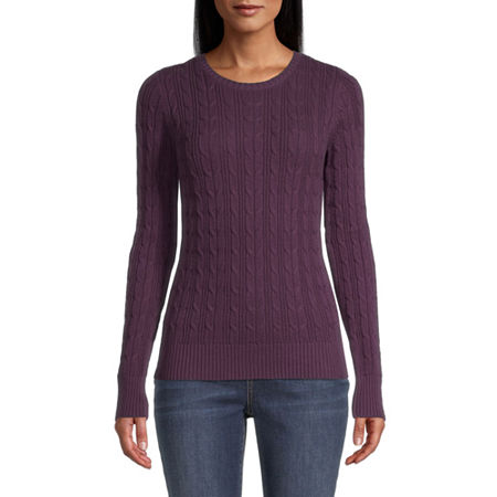 St. Johns Bay Cable Womens Crew Neck Long Sleeve Pullover Sweater, Medium , Purple