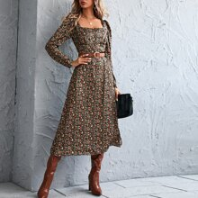 Square Neck Ditsy Floral Dress Without Belt