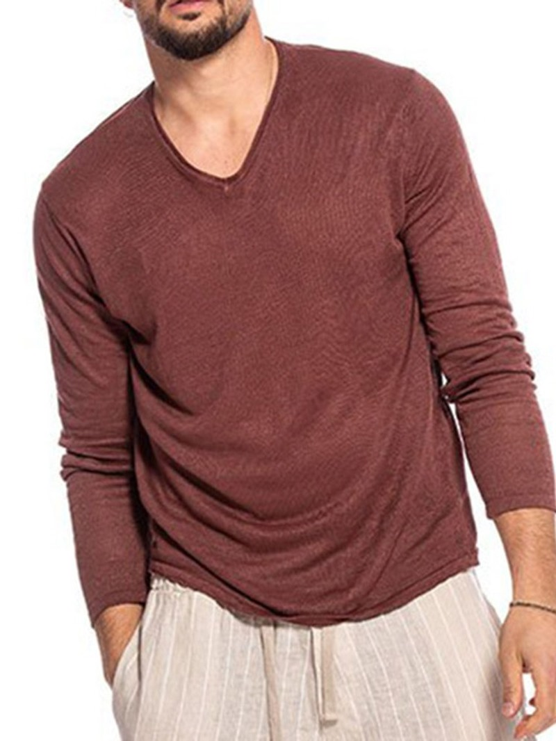 Ericdress V-Neck Plain Casual Pullover Loose T-shirt