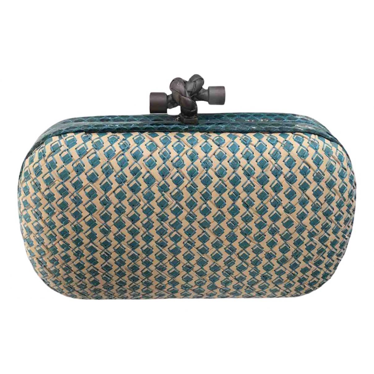 Bottega Veneta - Pochette   pour femme en python - turquoise