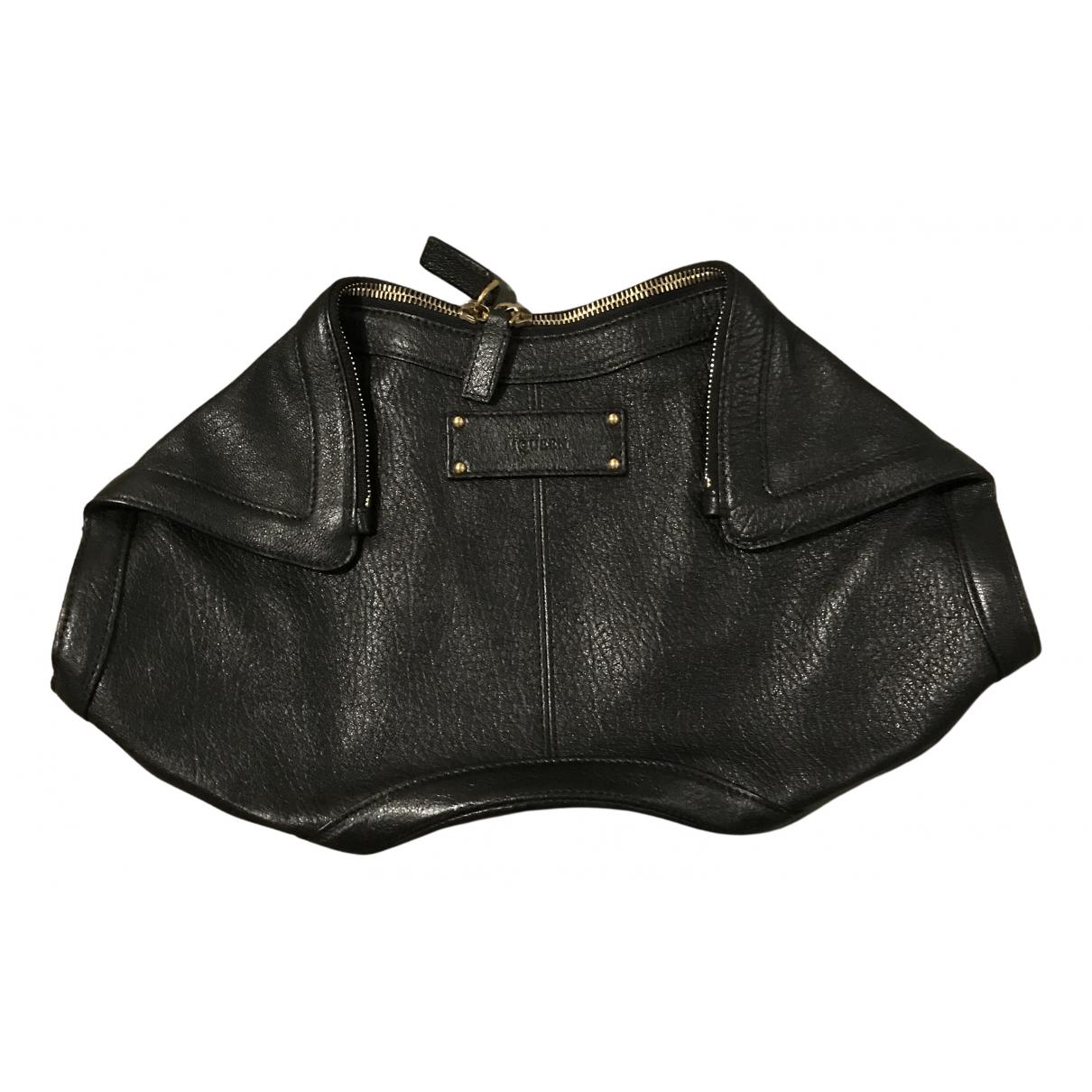 Alexander Mcqueen - Pochette Manta pour femme en cuir - noir