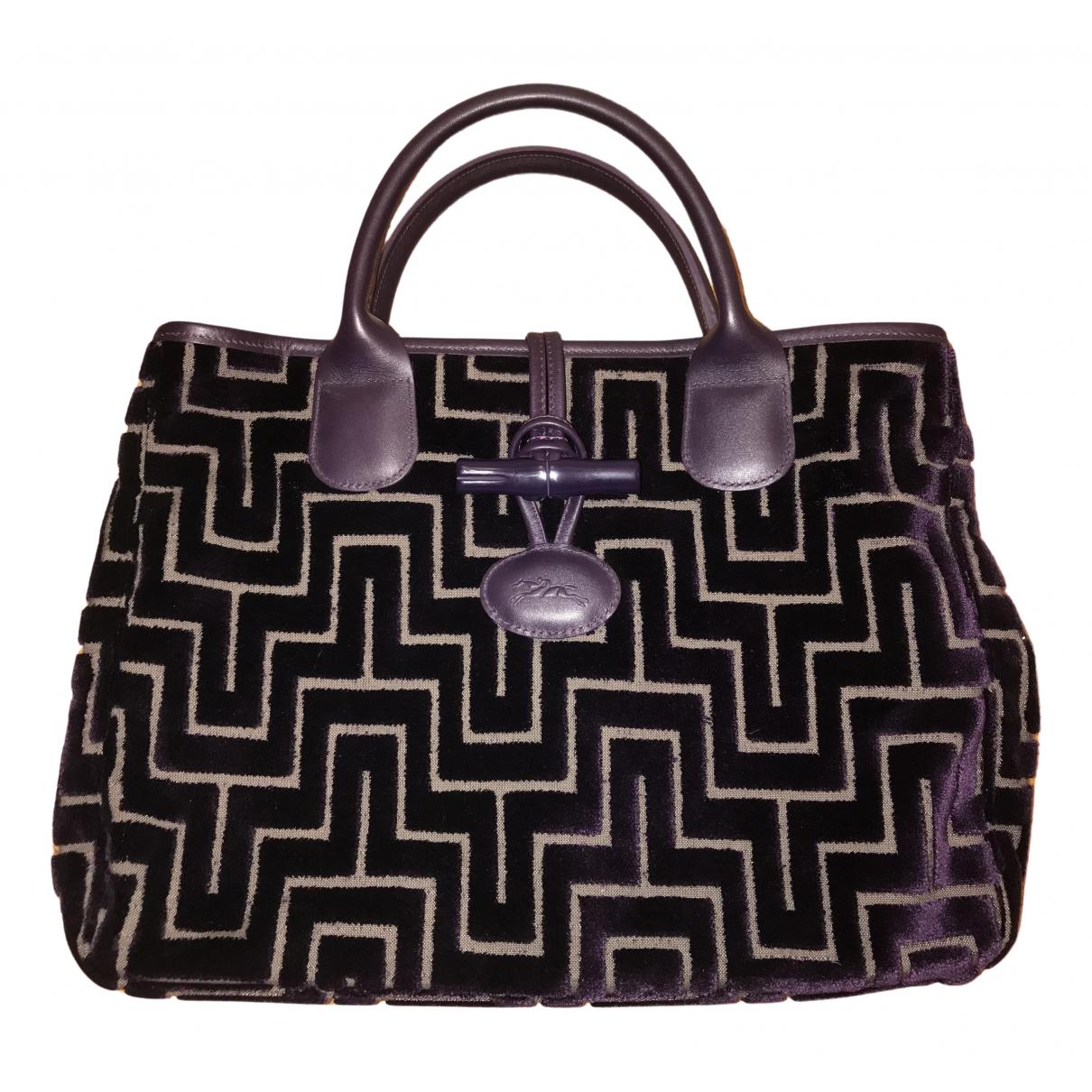 Longchamp - Sac a main Roseau pour femme en velours - violet