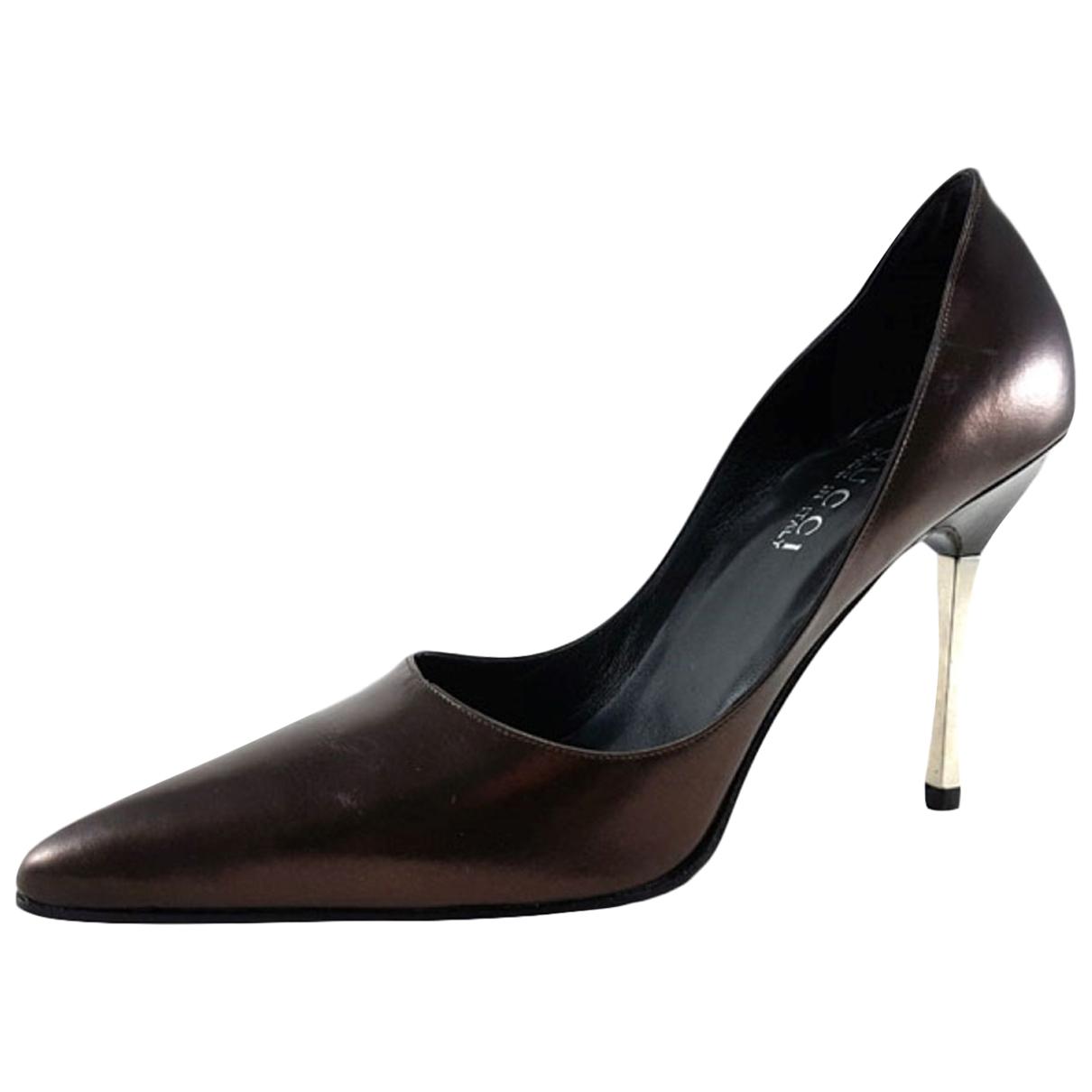 Gucci N Burgundy Leather Heels for Women 39.5 EU