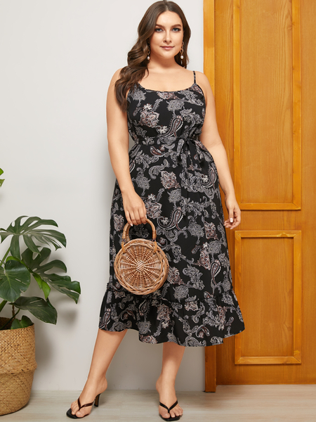 YOINS Plus Size Black Backless Design Paisley Sleeveless Dress