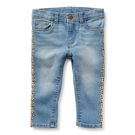 Okie Dokie Baby Girls Mid Rise Skinny Pull-On Pants, 24 Months , Blue