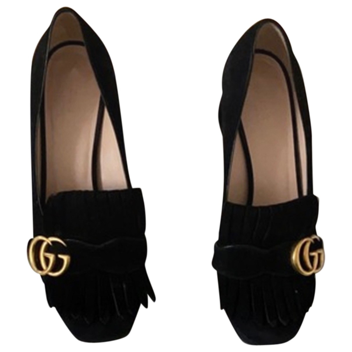 Gucci Marmont Black Suede Heels for Women 37 EU