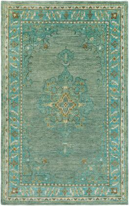 Haven HVN-1227 56 x 86 Rectangle Traditional Rug in Emerald  Teal  Grass Green  Bright Yellow  Burnt