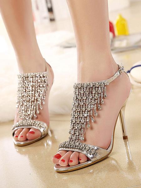 Milanoo Sandalias de tacon alto Zapatos de fiesta de tacon de aguja con pedreria de punta abierta dorada