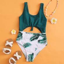 Bañador de niñas Nudo Tropical Verde