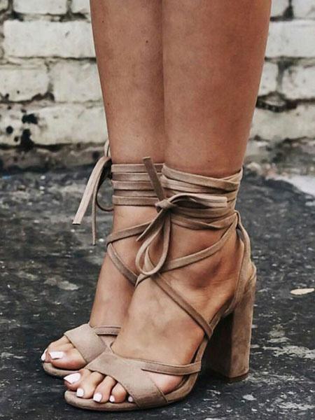 Milanoo Sandaliad de Gladiator de color albaricoque 2020 sandalias de talla grande de ante puntera abierta con cordones Sandalias con tacon alto de mu