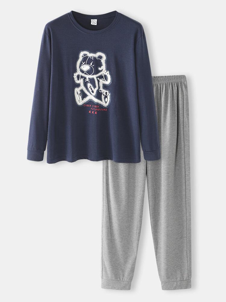 Men Bear Graphic pj sets Long Sleeve O Neck T-Shirt&Jogger Pants Co-ords