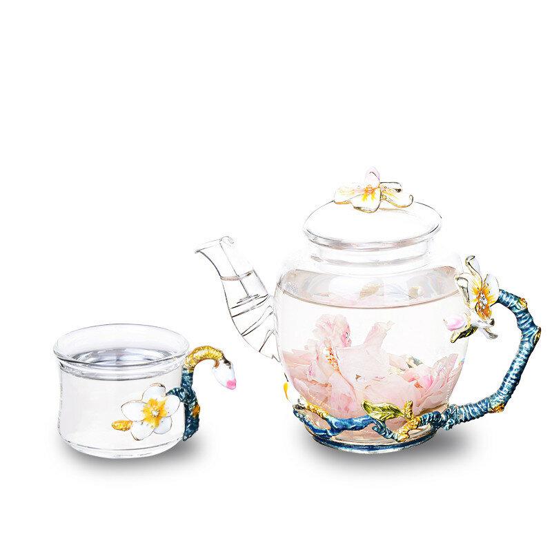 7pcs Teapot Set Apricot Flower Pattern Enamel Glass Set 1 Teapot with 6 Teacups Gift