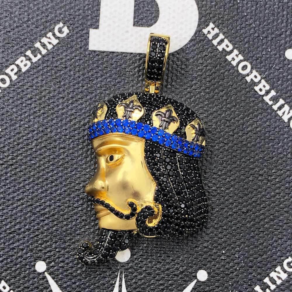 King Face Profile CZ Hip Hop Bling Bling Pendant