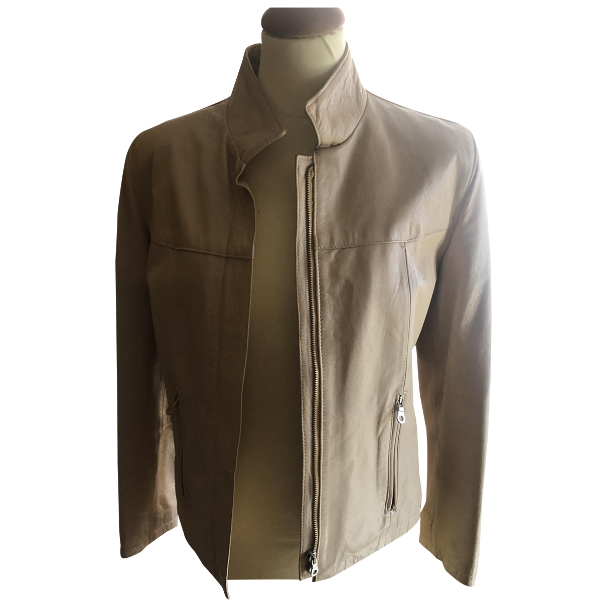 Non Signé / Unsigned Oversize Beige Leather jacket for Women M International