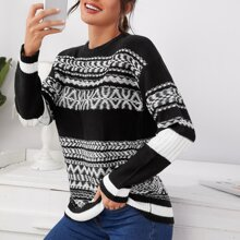 Geo Pattern Drop Shoulder Sweater