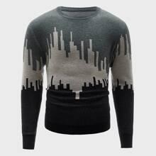 Men Color-block City Silhouette Pattern Sweater