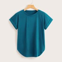 T-Shirt mit gerollten Manschetten