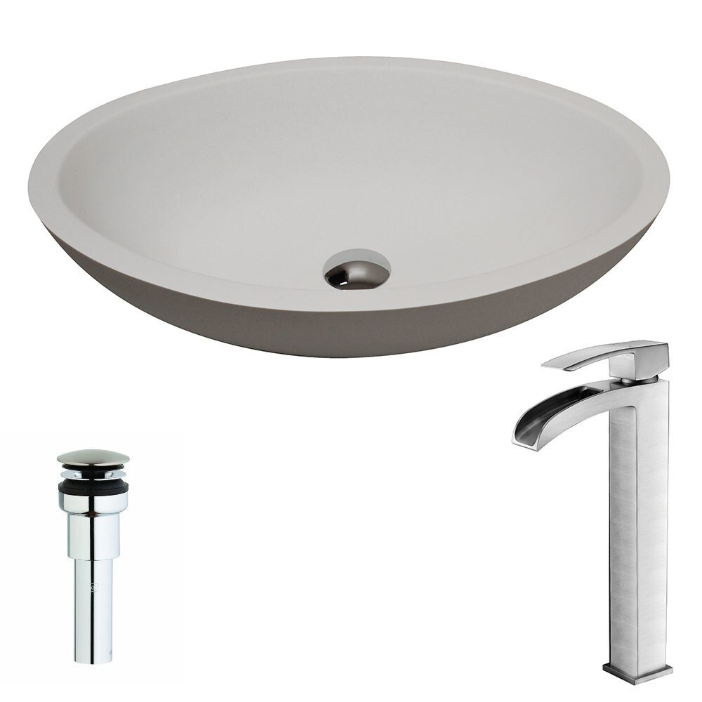 ANZZI Maine Series 1-Piece Matte White Manmade Stone Vessel Sink with Key Brushed Nickel Faucet (Matte)
