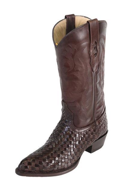 Men's Los Altos Weave Teju Lizard J Toe Brown Boots Handcrafted