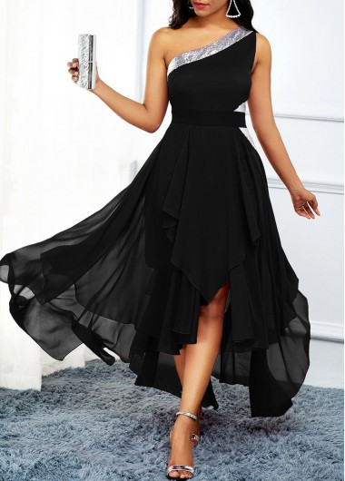 Women'S Black Chiffon One Shoulder Flowy Dress High Waisted Asymmetric Hem Cocktail Party Maxi Dress By Rosewe - M