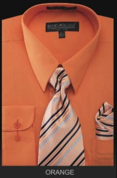 Mens Dress Shirt PREMIUM TIE Orange