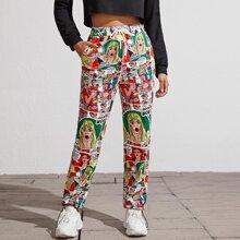 Pantalones deportivos de cintura con cordon con estampado de arte pop