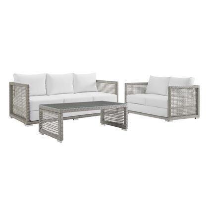 Aura Collection EEI-3598-GRY-WHI-SET 3 PC Outdoor Patio Set with Plush All-Weather Cushions  Water and UV Resistant  Powder Coated Aluminum Frame and