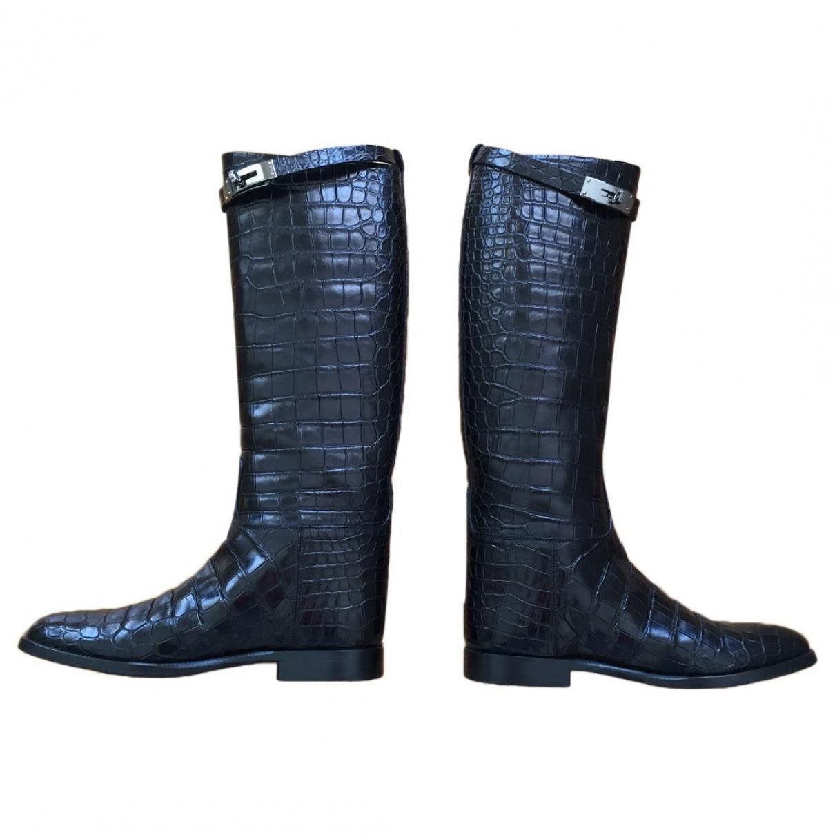 Hermès Jumping Black Alligator Boots for Women 38 EU