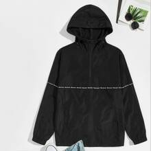 Guys Letter Tape Detail Hooded Wind Anorak Jacket