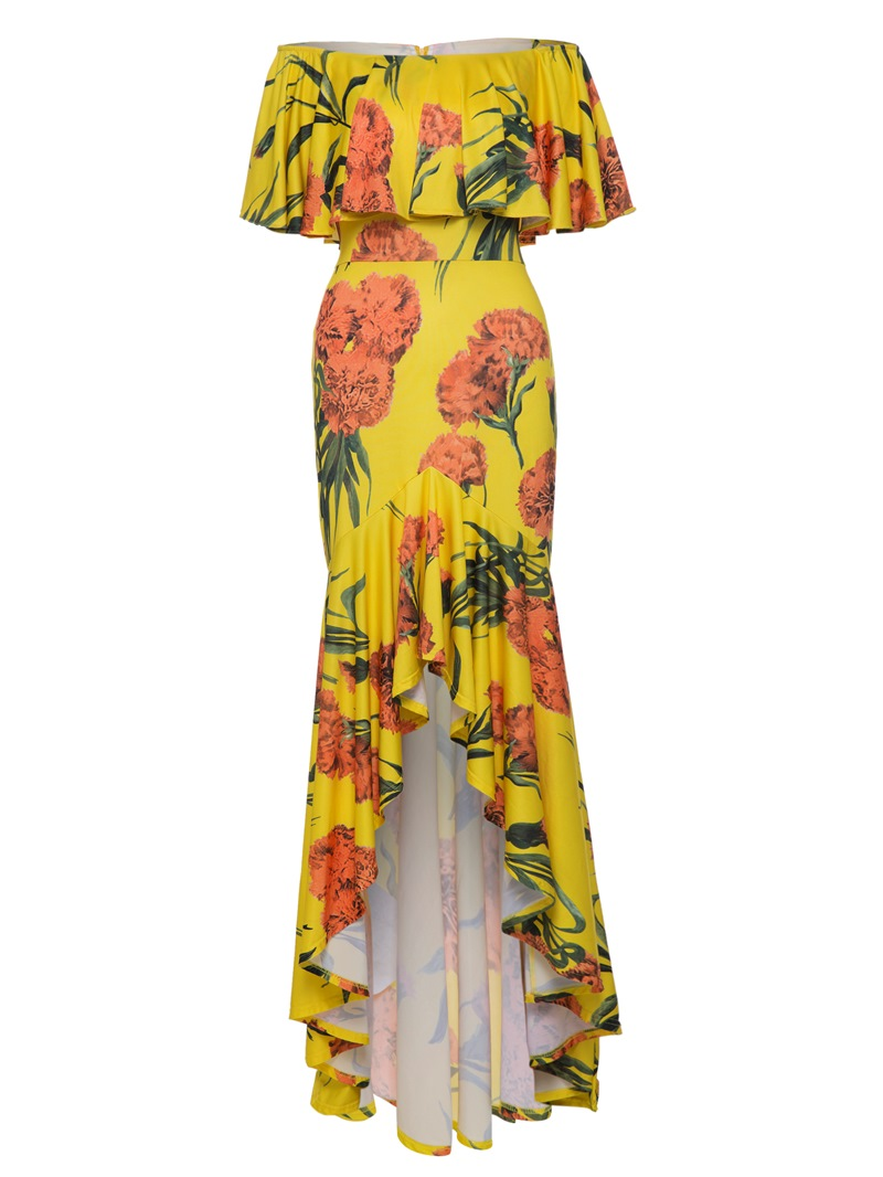 Ericdress Asym Falbala Patchwork Floral Print Women's Maxi Dress