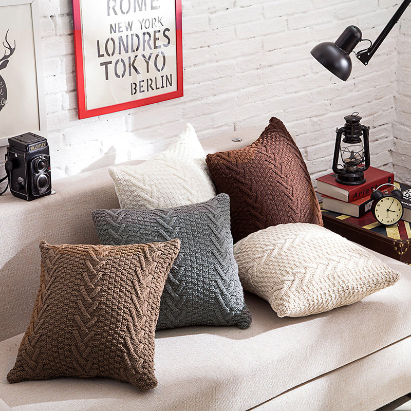 Nordic Style Crochet Knitted Pillow Case Chunky Knit Pillow Case Home Sofa Throw Pillow Case Art Dec