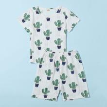 Schlafanzug Set mit Kaktus Muster