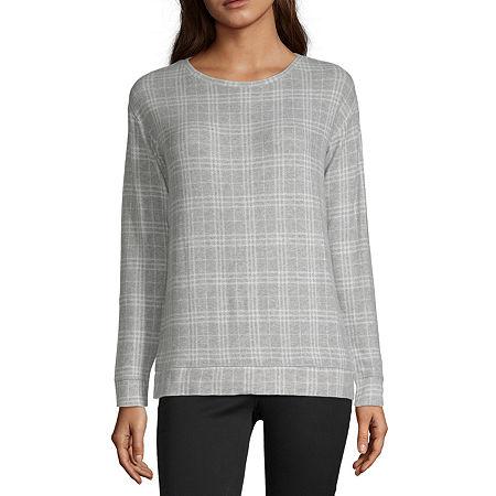 Liz Claiborne Long Sleeve Printed Sweatshirt - Tall, X-large Tall , Gray