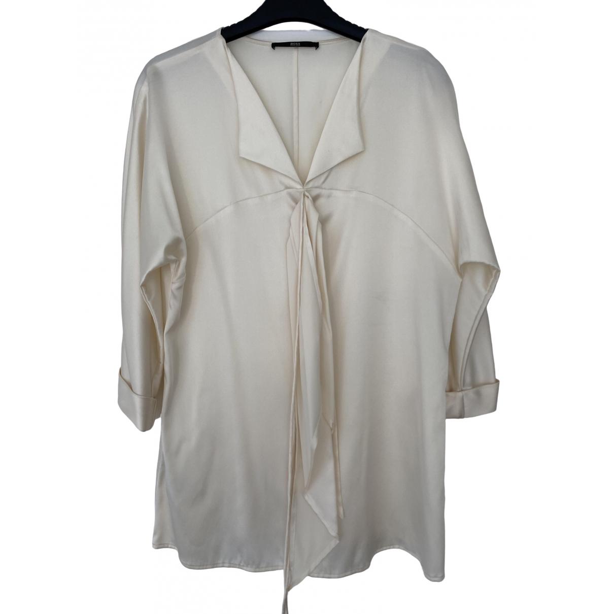 Hugo Boss - Top   pour femme en soie - blanc