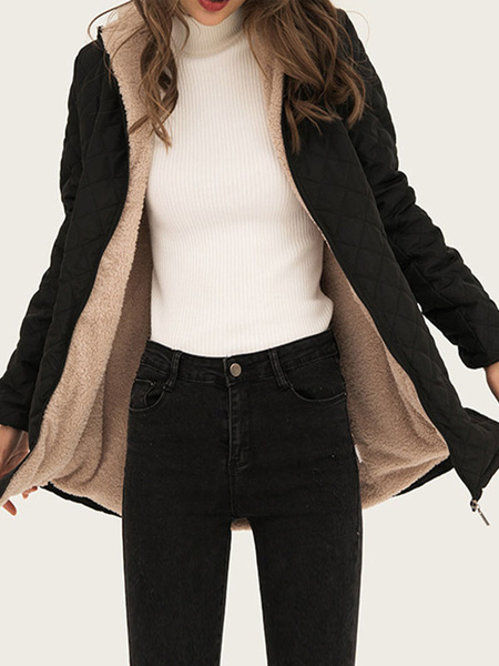 Milanoo Woman Coat Hooded Drawstring Casual Black Woolen Coat Winter Outerwear