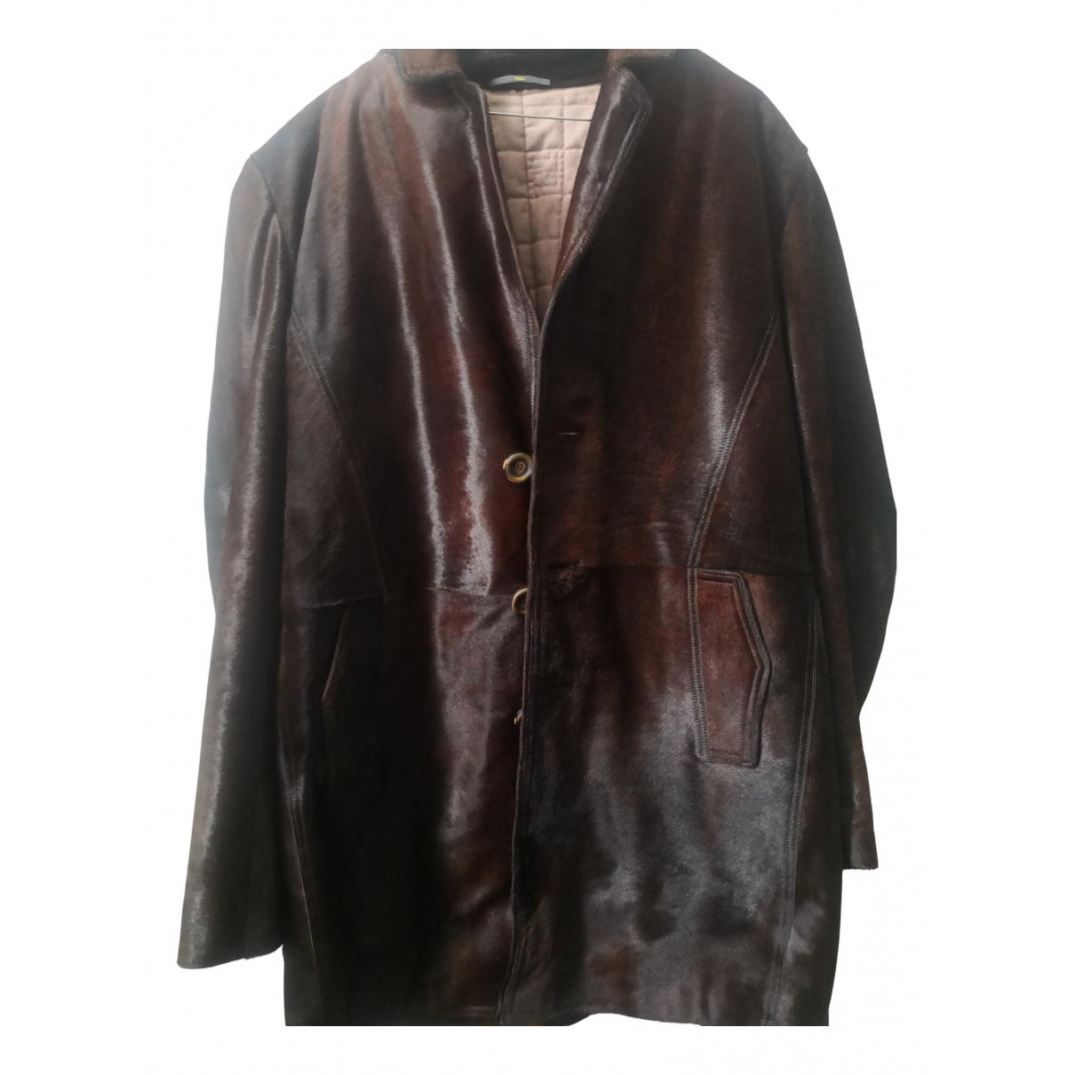 Fendi - Manteau   pour homme en fourrure - marron