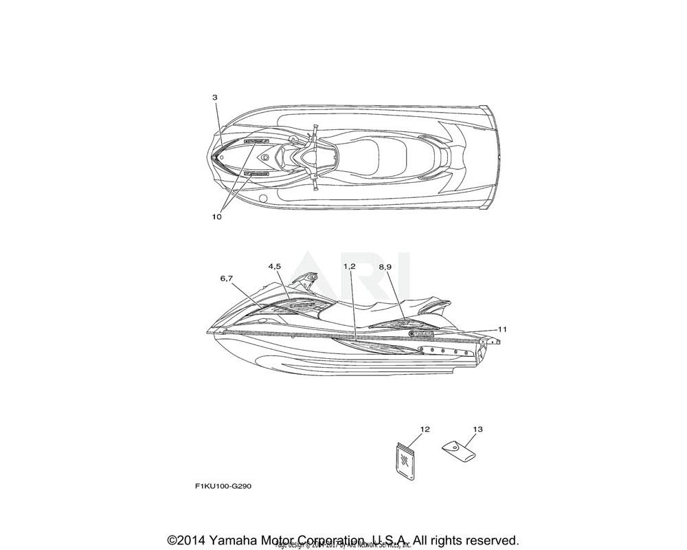 Yamaha OEM F1K-U417D-E0-00 GRAPHIC 3 | VX SPORT