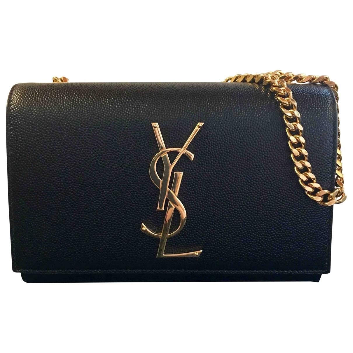 Saint Laurent Kate monogramme Black Leather Clutch bag for Women \N