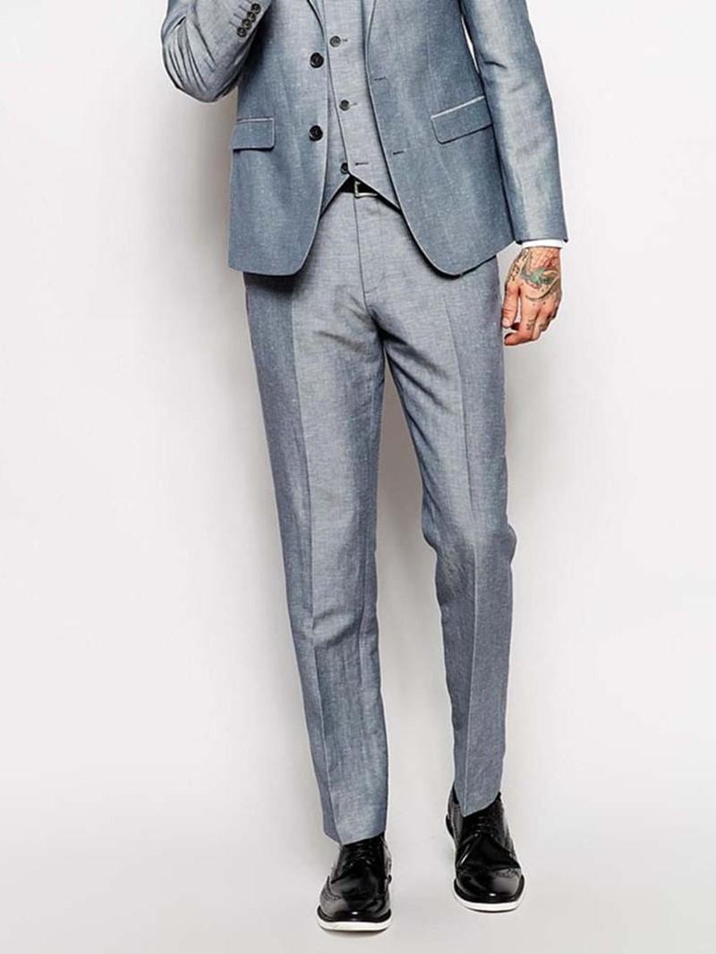Ericdress Casual Plain Full Length Mid Waist Men's Suit Trousers