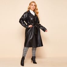 Plus Button Front Belted PU Leather Coat