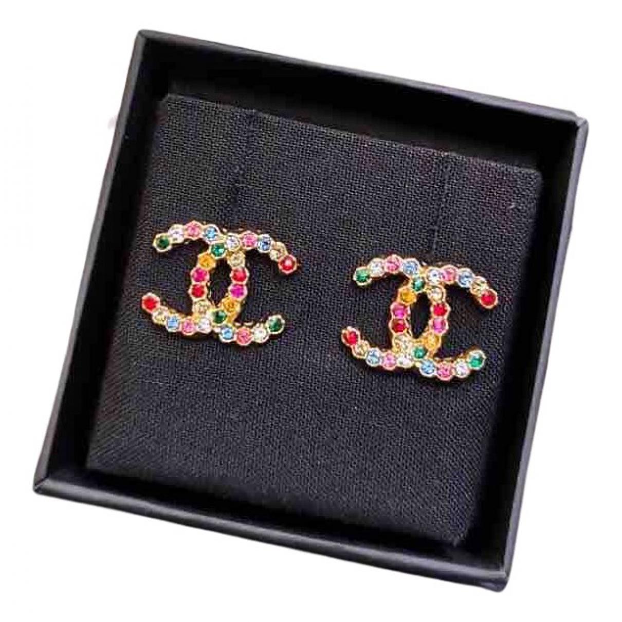 Chanel CC Multicolour Crystal Earrings for Women N