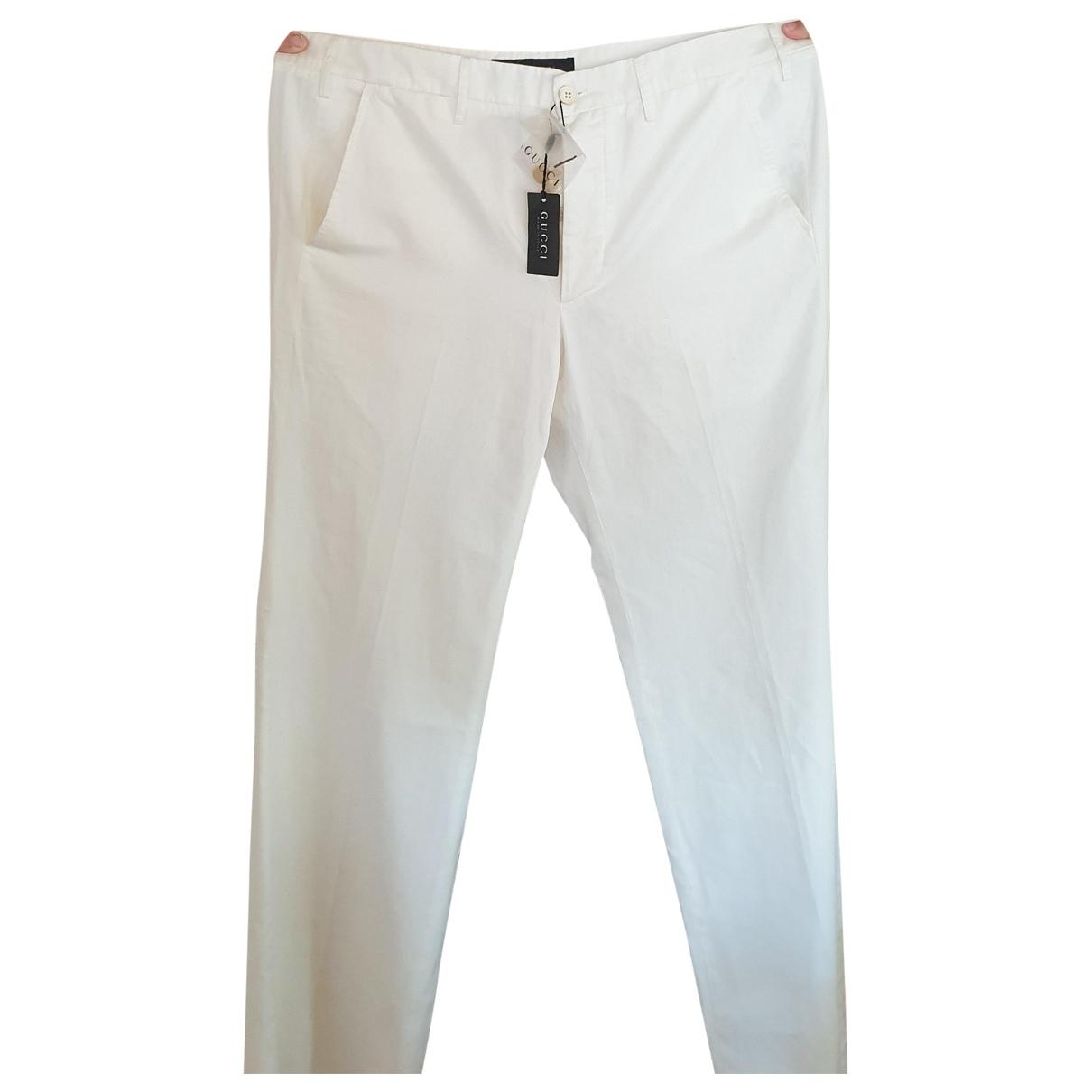 Pantalones en Algodon Blanco Gucci