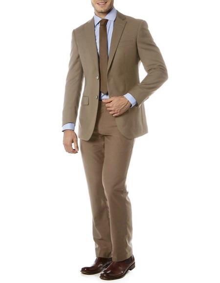 Mens Single Breasted Notch Label Slim Fit Suit Beige