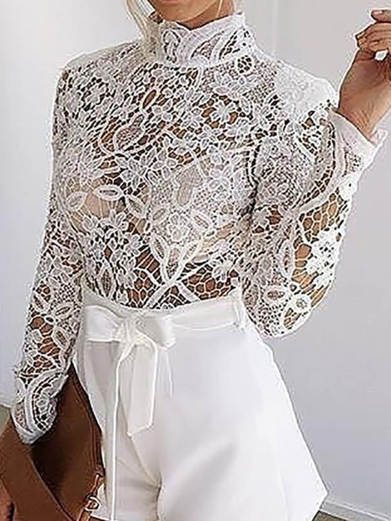 Ericdress Lace Patchwork See-Through Sweet High Waist Romper
